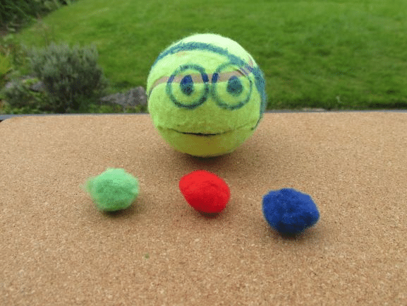 Tennis ball Ninja turtle fine motor activity