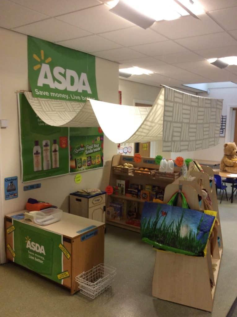 Roleplay area for supermarket in school