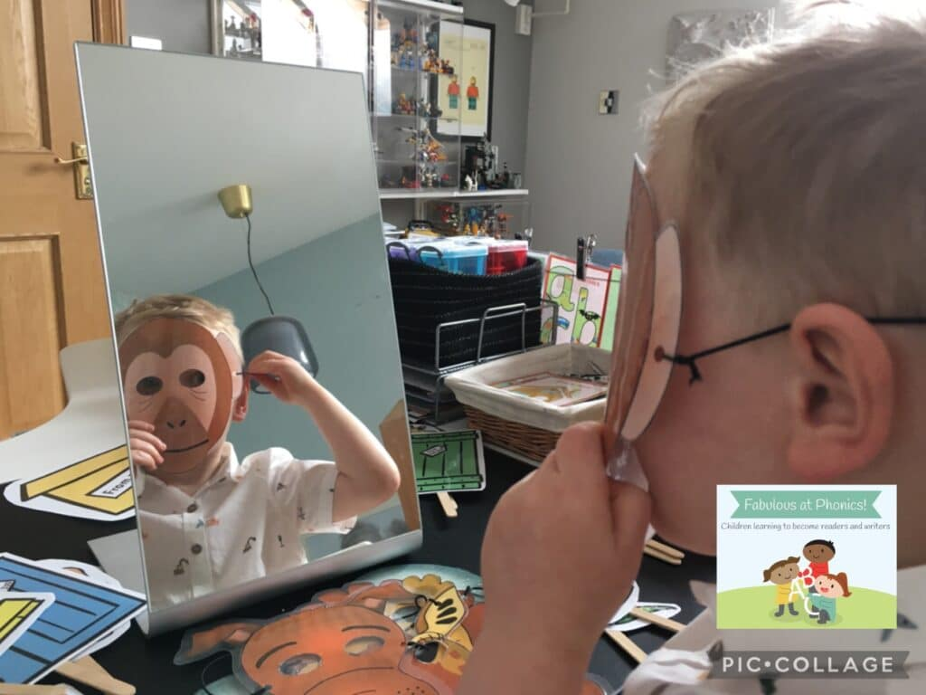 Child in monkey mask looking in mirror