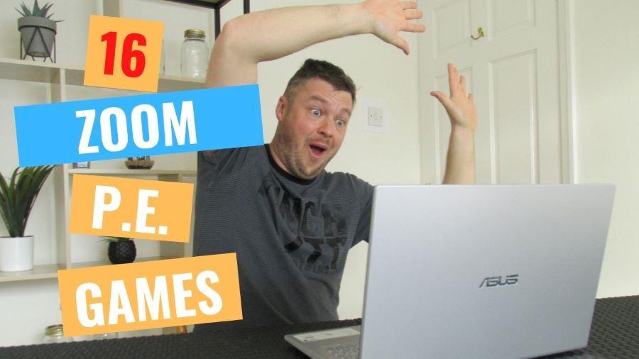 PE Zoom games teacher in action